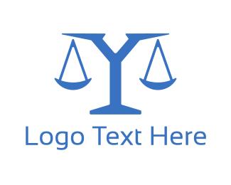 Equilibrium - Blue Letter Y Scale logo design