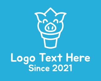 Ice Cream Cone - Ice Cream Pig Face logo design