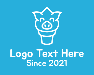 Sorbet - Ice Cream Pig Face logo design