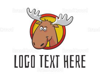 Kids Party - Moose Cartoon logo design