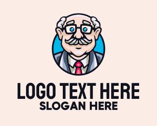 Pharmacist - Old Bald Man logo design
