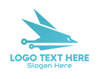 Airplane Wings - Sleek Blue Airplane logo design