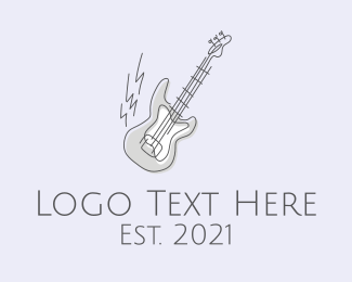 Band - Electric Guitar Line Art logo design