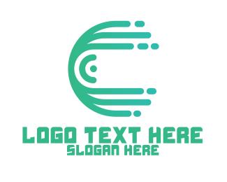 Mobile Service - Green Media Outline App logo design