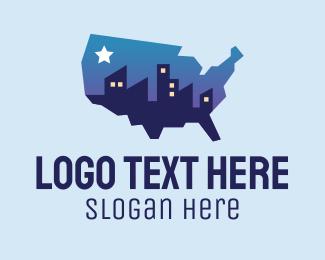 State - USA American Map City logo design