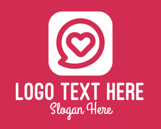 Contactless - Heart Chat App logo design