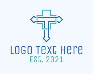 Modern - Blue Cross Letter T logo design