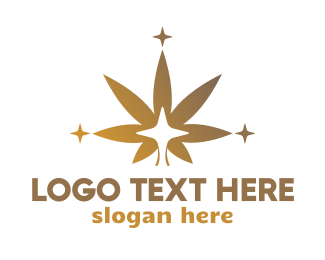 Hemp - Sparkling Cannabis Leaf logo design