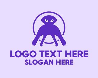 Octopus - Black Squid logo design