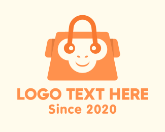 Monkey - Orange Monkey Bag logo design