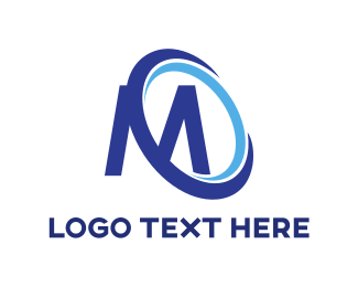 Fabrication - Blue Disc M logo design
