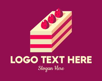 Cake - Strawberry Cheesecake Cake logo design
