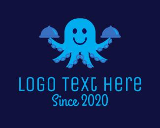 Tray - Octopus Waiter logo design