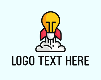 Launching - Rocket Lamp logo design