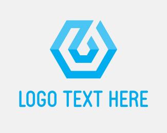 Blockchain - Blue Tech Hexagon logo design