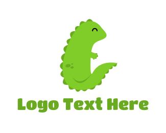 Baby Boutique - Green Baby Dragon logo design