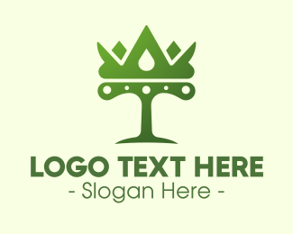 Monarchy - Green Tree Crown logo design