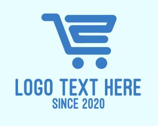 Two - Blue Shopping Cart Number 2 logo design