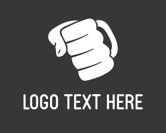 Fist - White Punch Hand logo design