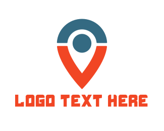 Tricolor - Blue Red Pin V logo design
