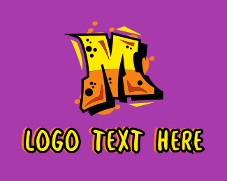 Rapper - Graffiti Letter M logo design