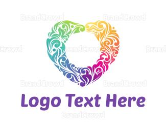 Dating - Floral Heart logo design