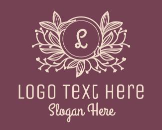 Flourish - Floral Wreath Leaves Letter logo design