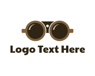 Telescope - Binocular Coffee logo design