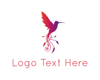 Purple Leaf - Leaves Hummingbird logo design
