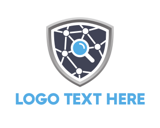 Magnifying Glass - Search Shield logo design