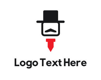 Black Man - Hat & Tie logo design