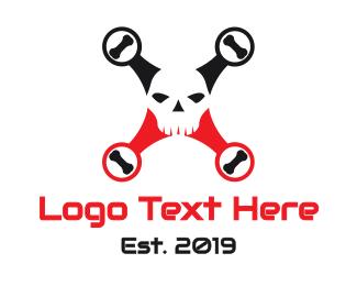 Pilot - Black Red Skull Drone logo design