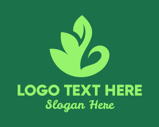 Geese - Green Leaf Swan logo design
