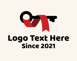 Real Estate - Security Key Ribbon logo design