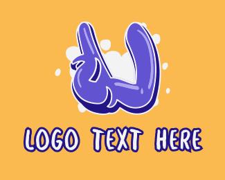 Vibrant - Blockbuster Graffiti Letter U logo design