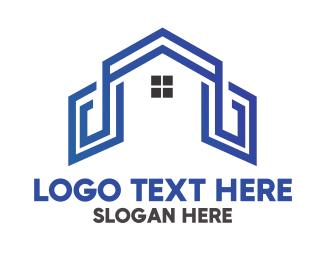 Property Investor - Blue House Outline logo design