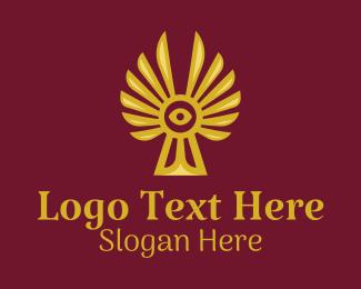 Aztec - Winged Evil Eye  logo design