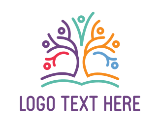 Human Tree - Kindergarten Tree logo design