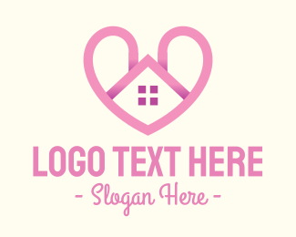 Household - Pink Love Heart Home logo design