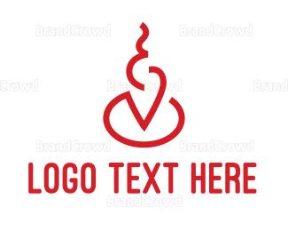Activity - Red Smoke Line Art logo design