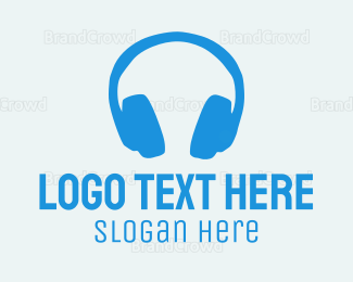 Music Equipment - Blue Headphones  logo design