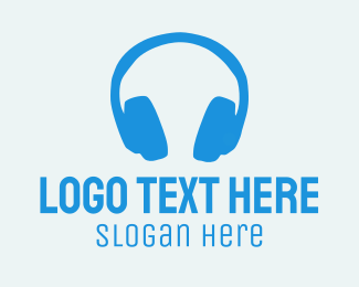 Headset - Blue Headphones  logo design