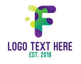 Paint - Slime Splash Letter F logo design
