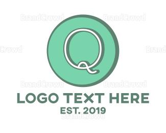 Aqua - Blue Minimalist Q logo design