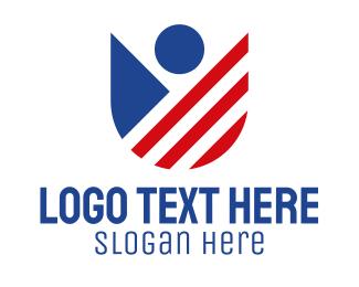 North America - American Shield Person logo design