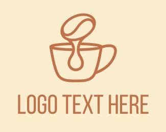 Melting - Dripping Coffee Bean logo design