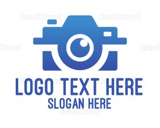 Camera Rental - Blue Gradient Optical Camera logo design