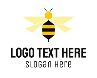 Buzz - Flying Bee Hexagon logo design