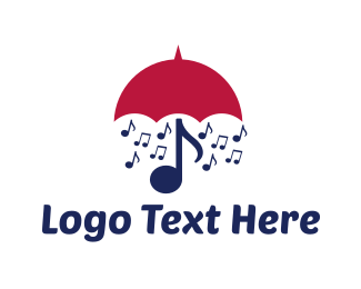 Rain - Musical Umbrella logo design