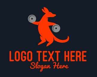 Weights - Strong Kangaroo logo design